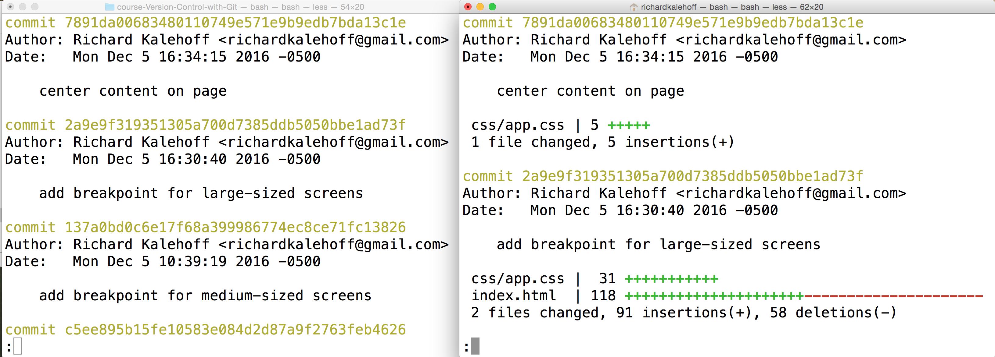 Udacity > Git > 3 4 > Viewing Modified Files > git log