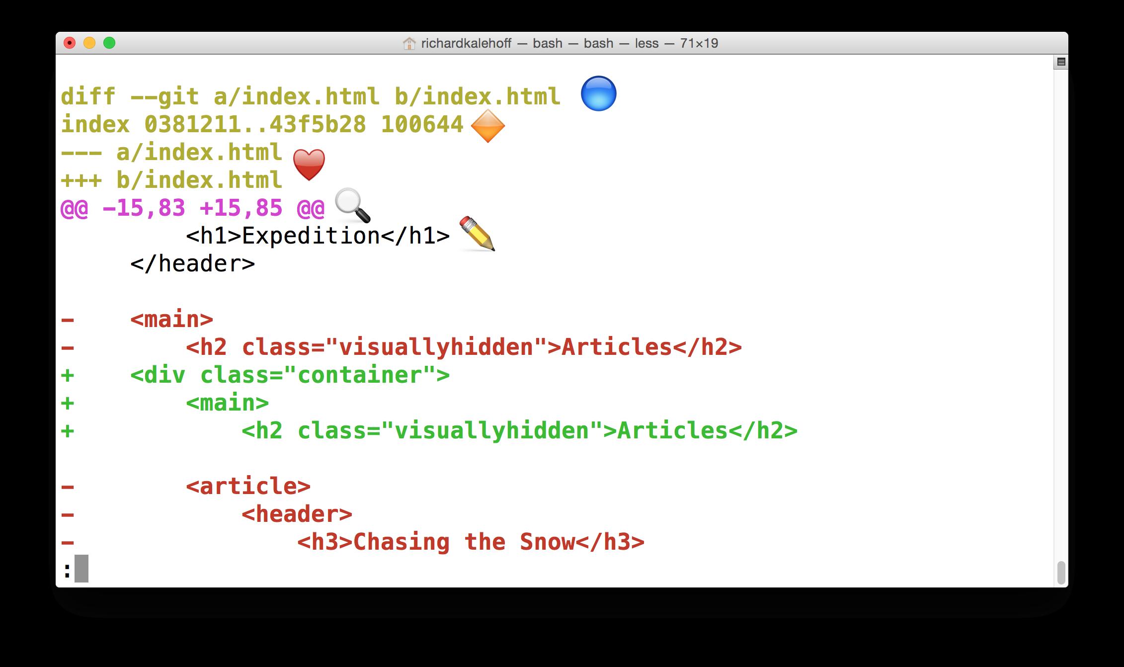Udacity > Git > 3 5 > Viewing File Changes > git log -p